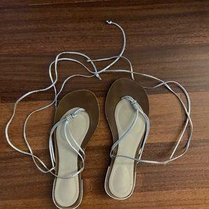 Aldo flat sandals silver size 8